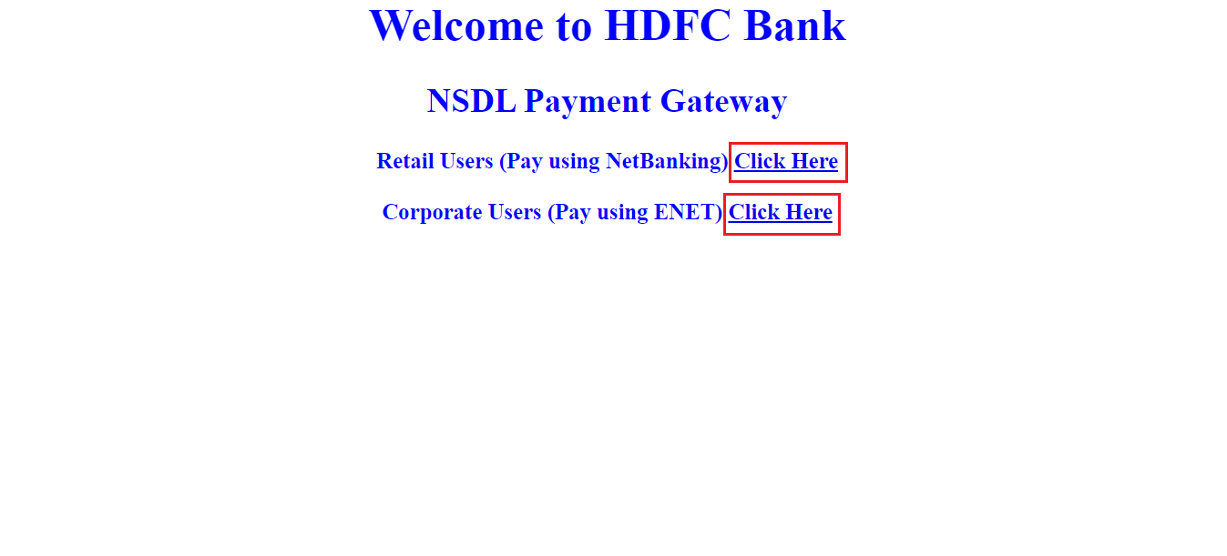 NSDL payment HDFC