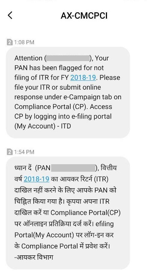 SMS to Non-Filers of ITR_FY 2018-19