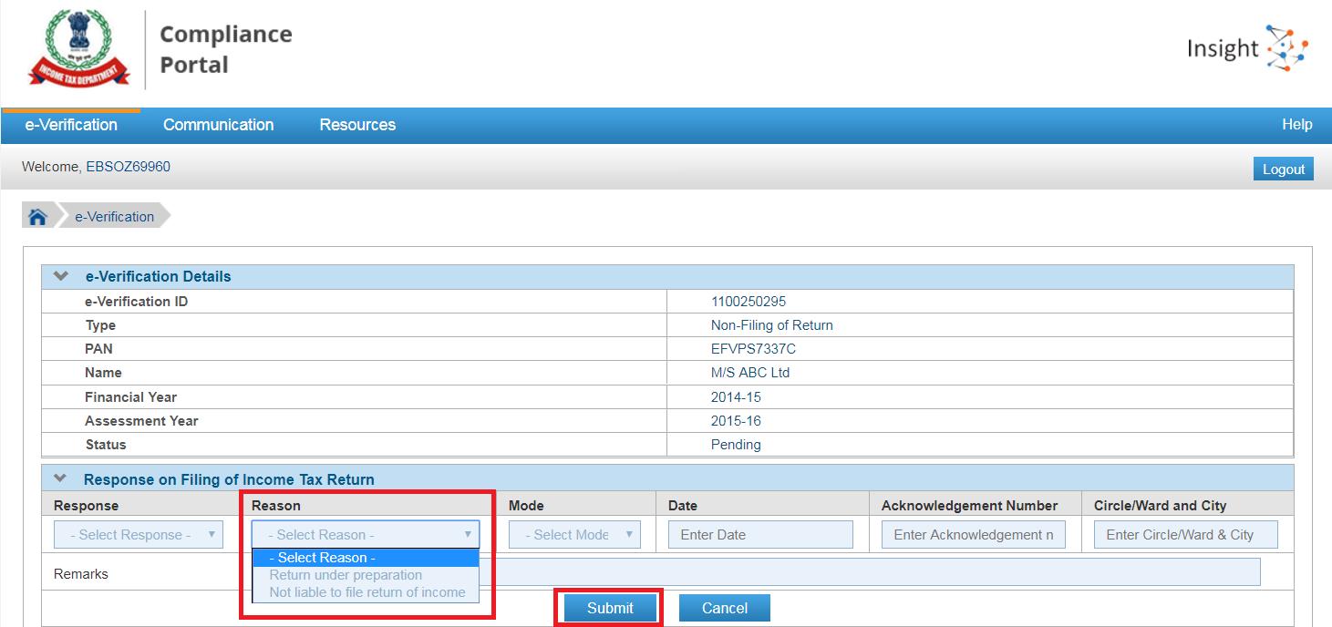 compliance portal reason