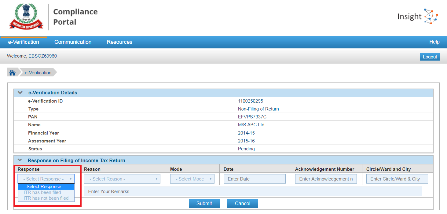 compliance portal response