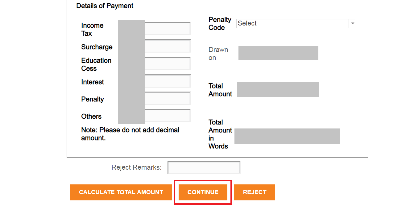 continue icici tax payment