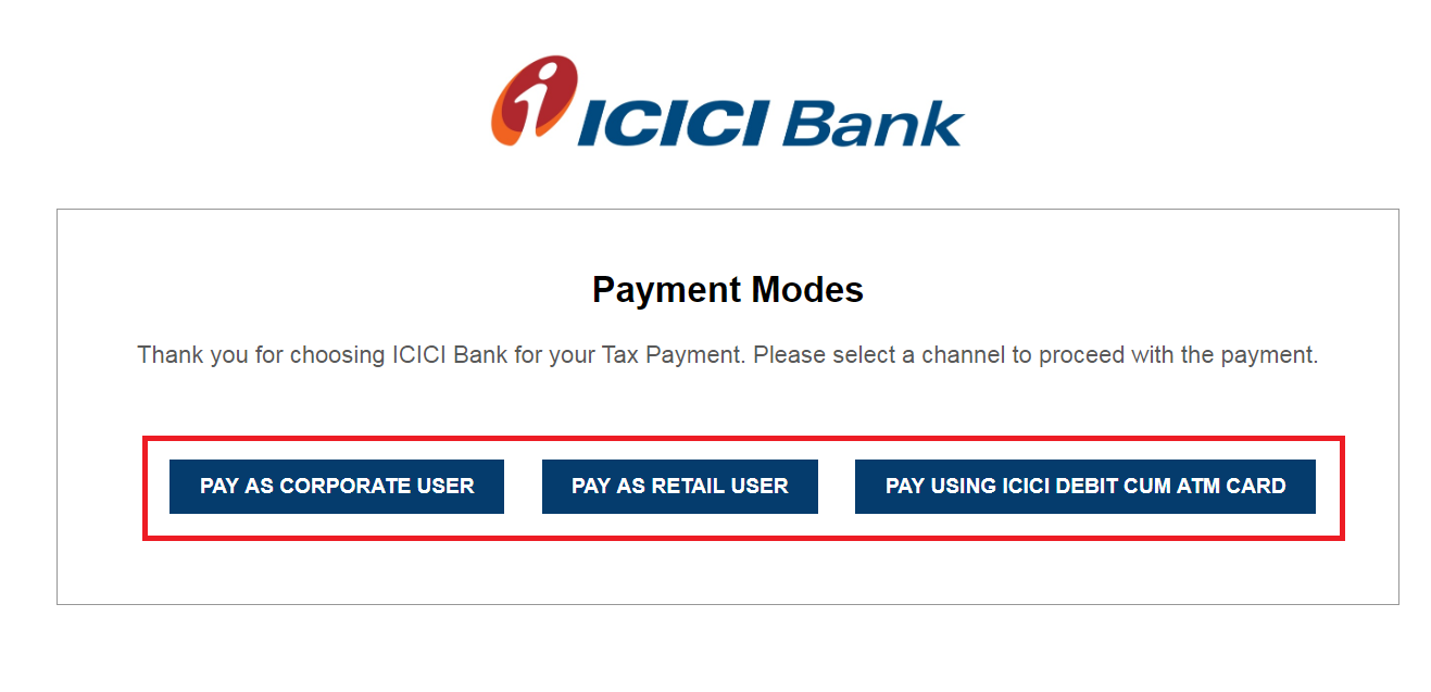 icici payment mode