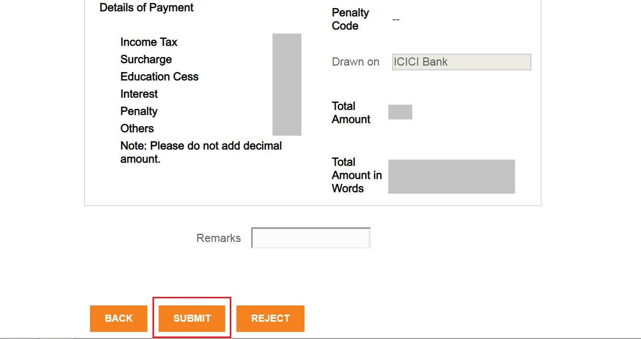 submit payment icici