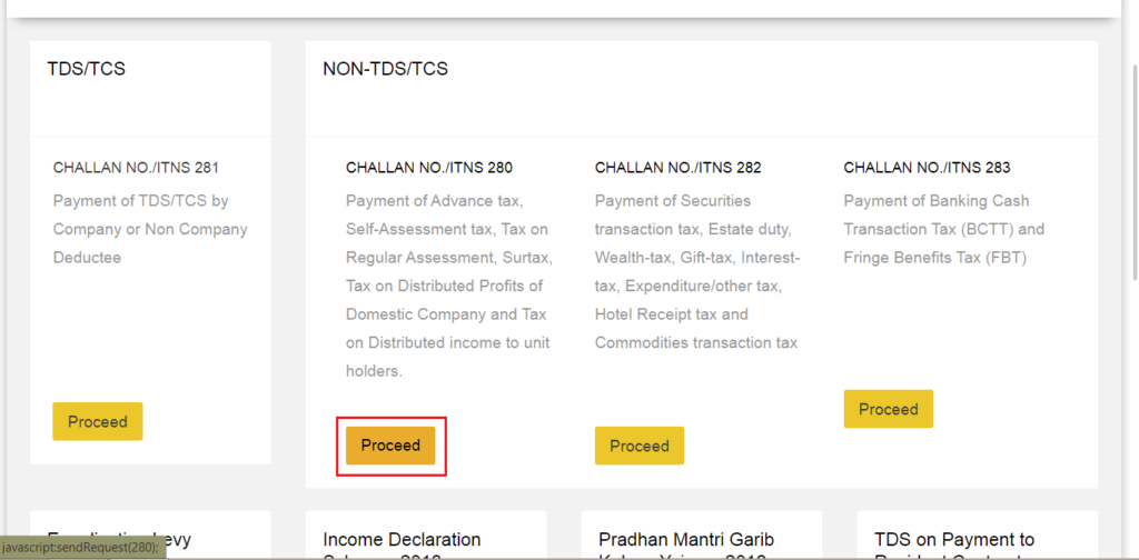 Online Income Tax Payment Challan 280