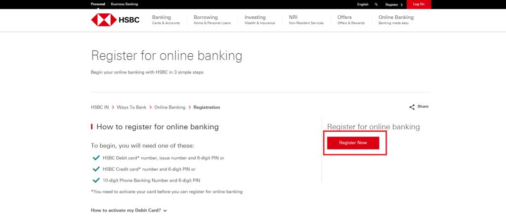 hsbc internet banking password reset form